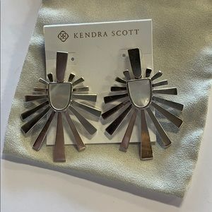 Cambria earrings rhodium mother of pearl
